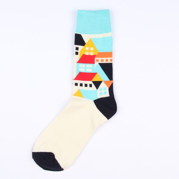 Цветные носки унисекс с домиками корейской марки Ideasocks