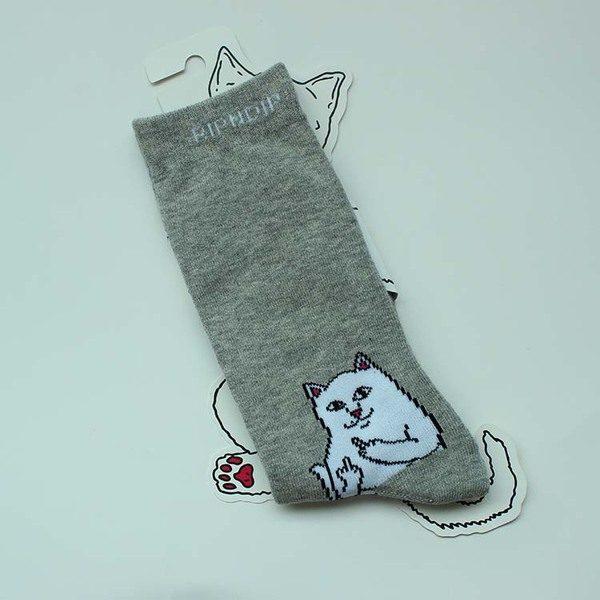 Яркие серые носки с котиками марки RIPNDIP