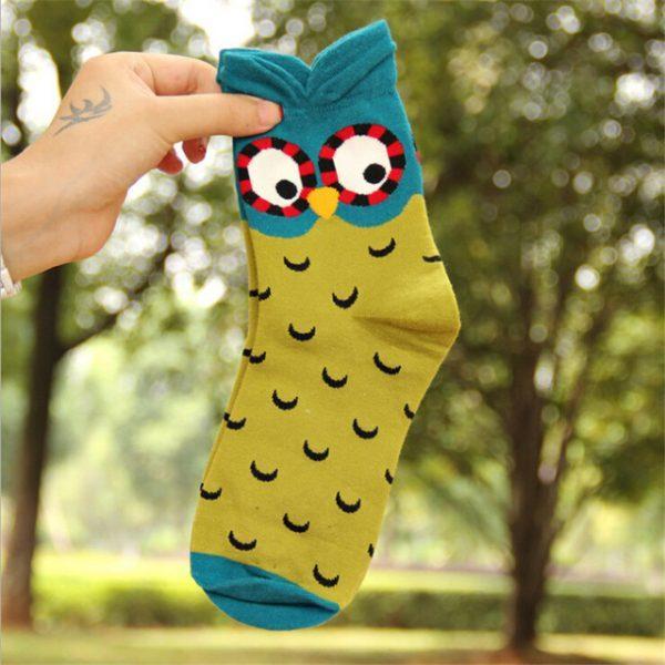 Женские носки в виде совы в оливковыхтонах