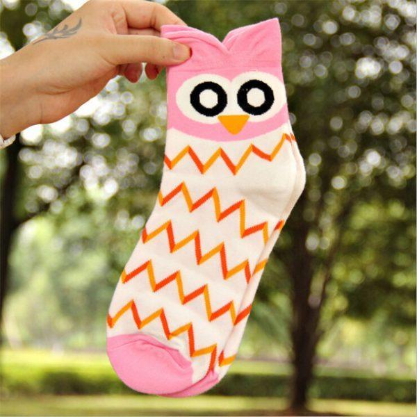 Женские носки в виде совы в розовых тонах