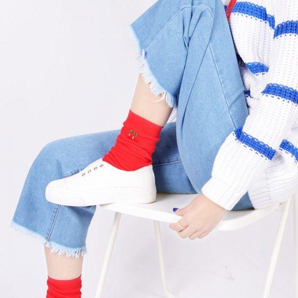 Плотные носки Menteur с изображением вишни в винтажном стиле