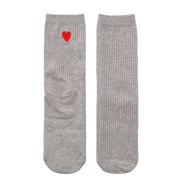 Серые носки с вышивкой в виде сердца красного цвета Jumeaux