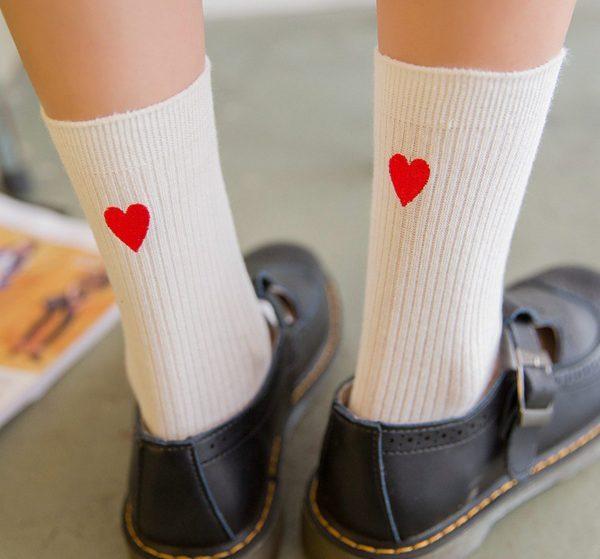Белые носки с сердечком Jumeaux