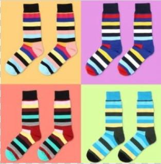 Набор из четырех цветных полосатых носков Rainbow