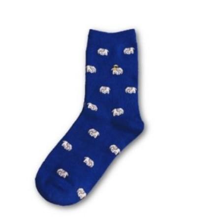 Носки Caramella высокие с изображением слонов синего цвета